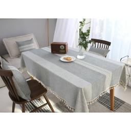 Mantel Rectangular Con Borlas Para Mesa 140x240 cm