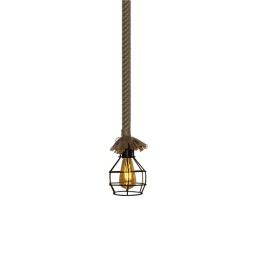 Lámpara Colgante de Metal con Cuerda de Yute