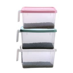 Set 3 Contenedores de Almacenamiento Plastico Con Manija y Tapa